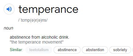 temperance definition from oxford dictionary